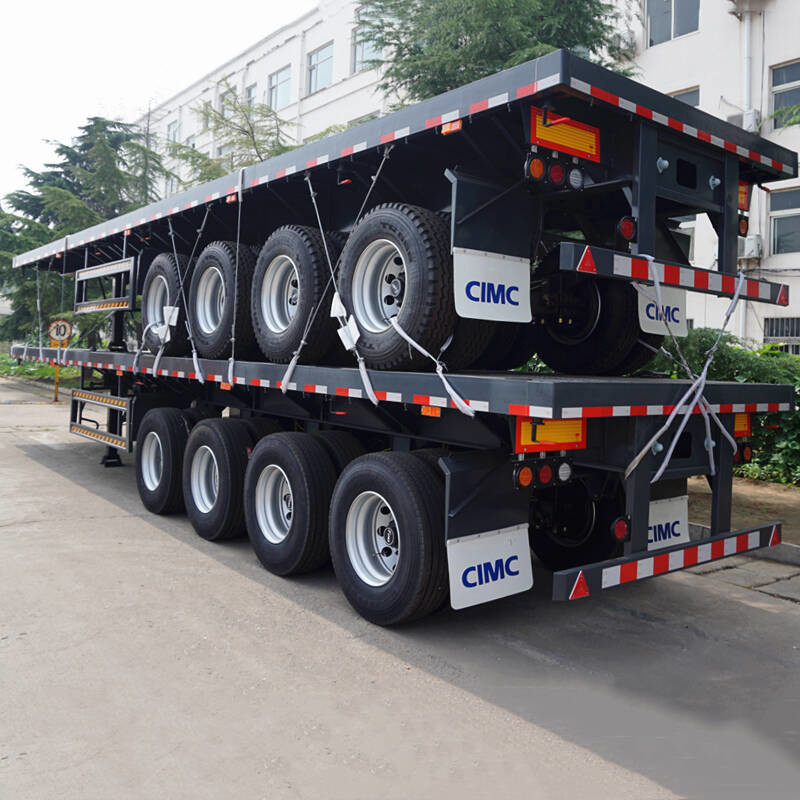 WABCO Brake 80Ton 4 Axle 50mm JOST Flatbed Semi Trailer